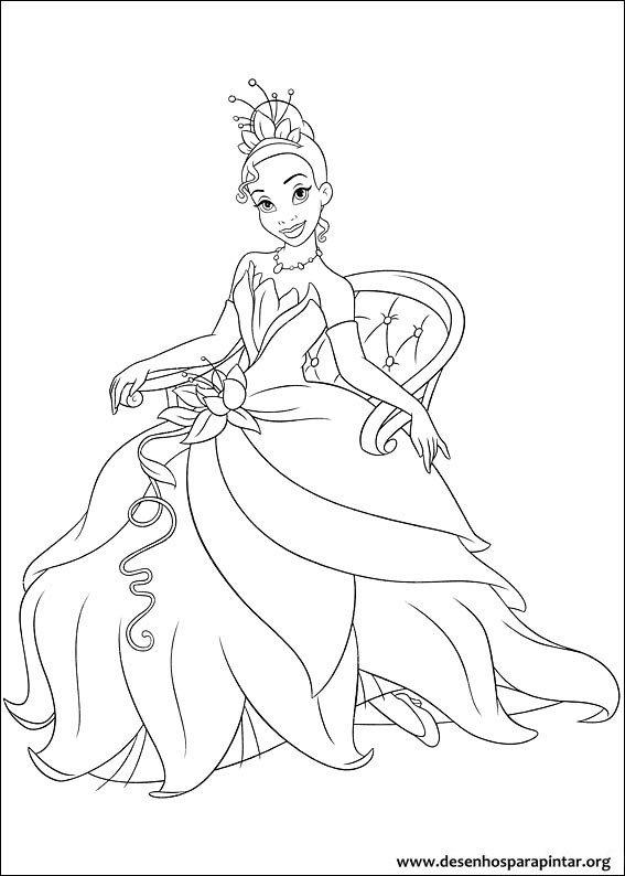 Tiana a Princesa e o Sapo – desenhos para imprimir colorir e pintar ...