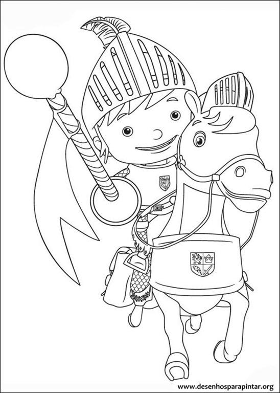 Mike o cavaleiro desenhos para imprimir colorir e pintar - Mike le pagine da colorare cavaliere ...