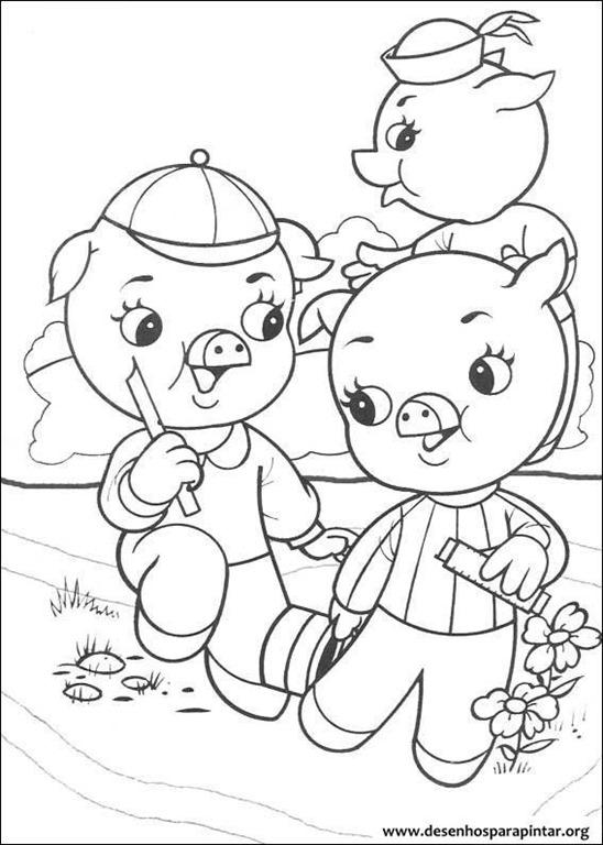 Os tres porquinhos e o lobo mau desenhos para imprimir for 3 little pigs coloring pages