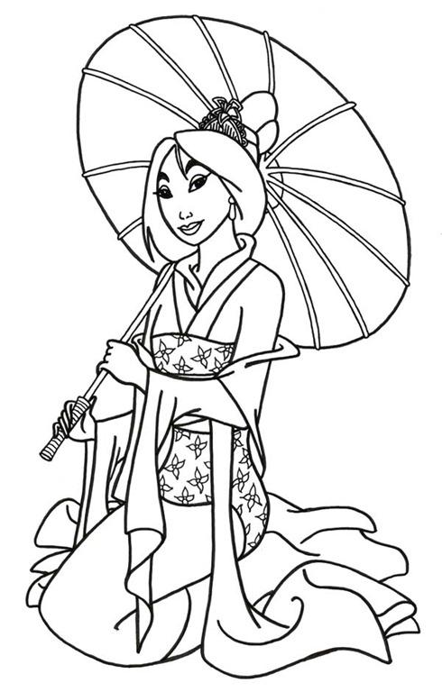 mulan a princesa japonesa da disney desenhos para imprimir
