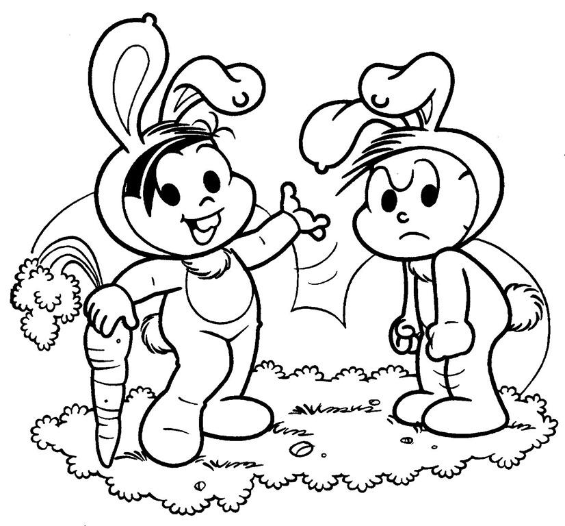 Desenhos De Páscoa Da Turma Da Monica Para Imprimir Colorir