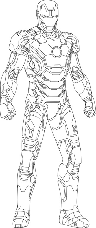 iron man mark 42 coloring pages - iron man mark 42 drawings outline sketch coloring page
