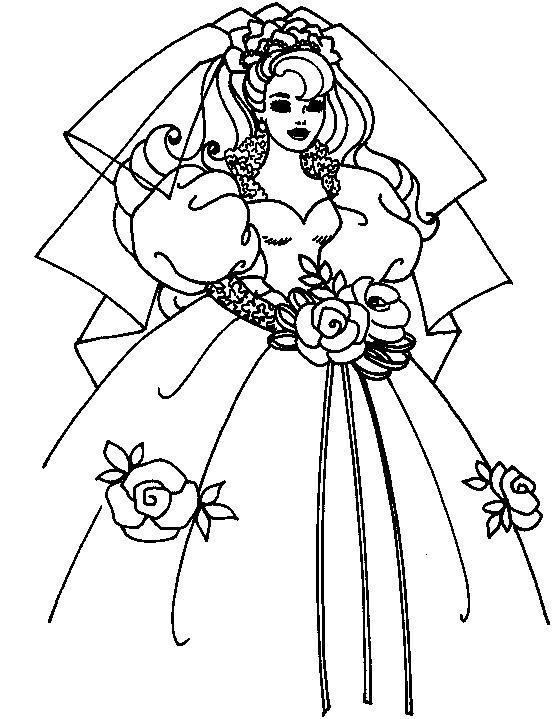 Barbie vestida de noiva desenhos para colorir imprimir e pintar desenhos para pintar e colorir - Coloriage minnie robe ...