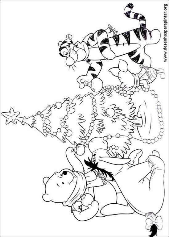 Desenhos Do Ursinho Pooh De Natal Para Imprimir Colorir E Pintar