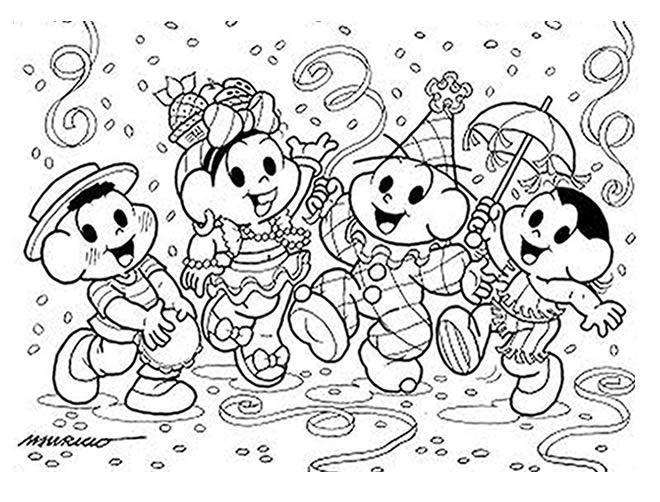 Desenhos De Carnaval Da Turma Da Monica Para Imprimir Colorir E
